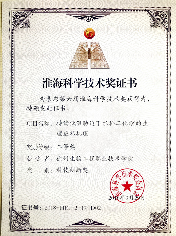 淮海科学技术二等奖